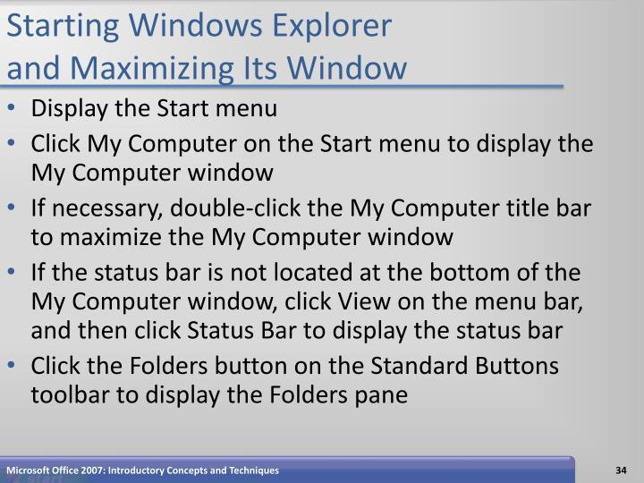 Starting Windows Explorer