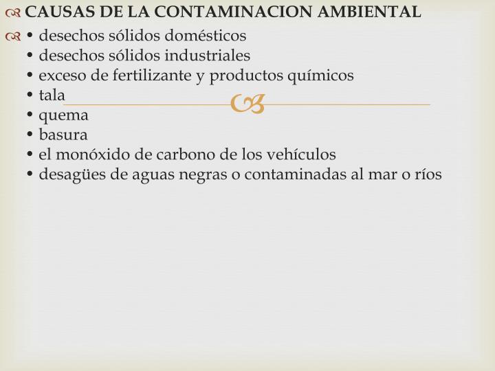 CAUSAS DE LA CONTAMINACION AMBIENTAL