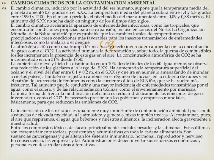 CAMBIOS CLIMATICOS POR LA CONTAMINACION AMBIENTAL