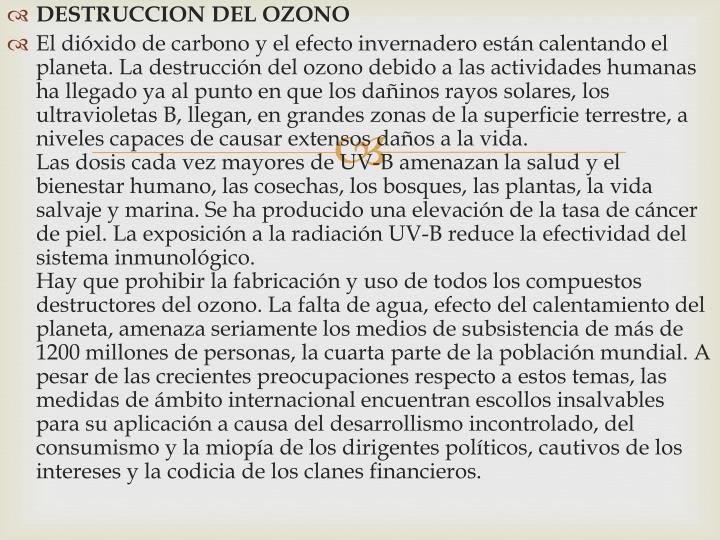 DESTRUCCION DEL OZONO