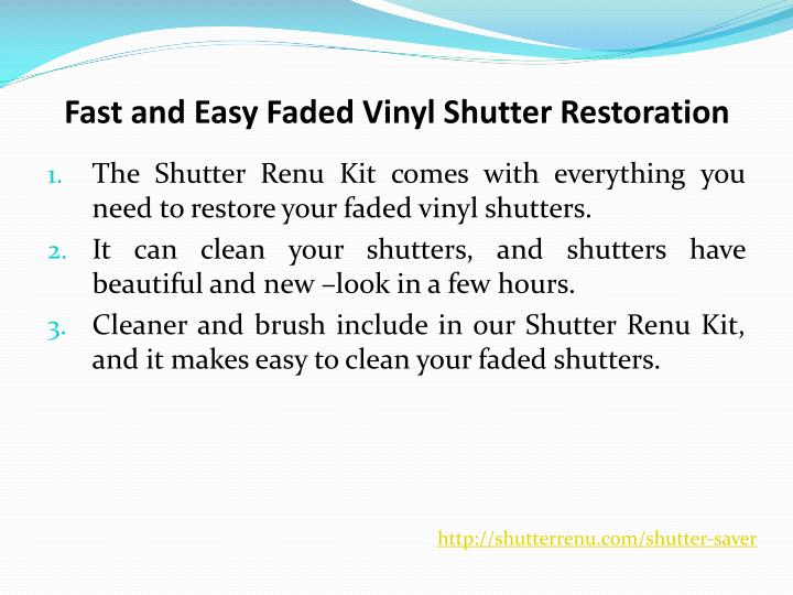 Fast and Easy Faded Vinyl Shutter Restoration
