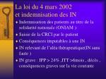 la loi du 4 mars 2002 et indemnisation des in1