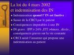 la loi du 4 mars 2002 et indemnisation des in2