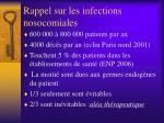 rappel sur les infections nosocomiales