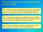 objectifs de l application de la phase initiale de l ogt pitdd