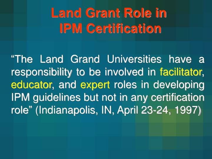 Land Grant Role in