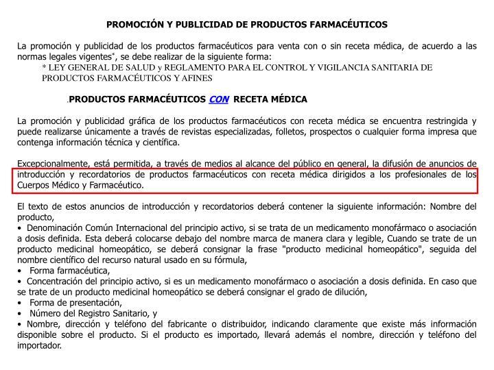 PROMOCIÓN Y PUBLICIDAD DE PRODUCTOS FARMACÉUTICOS