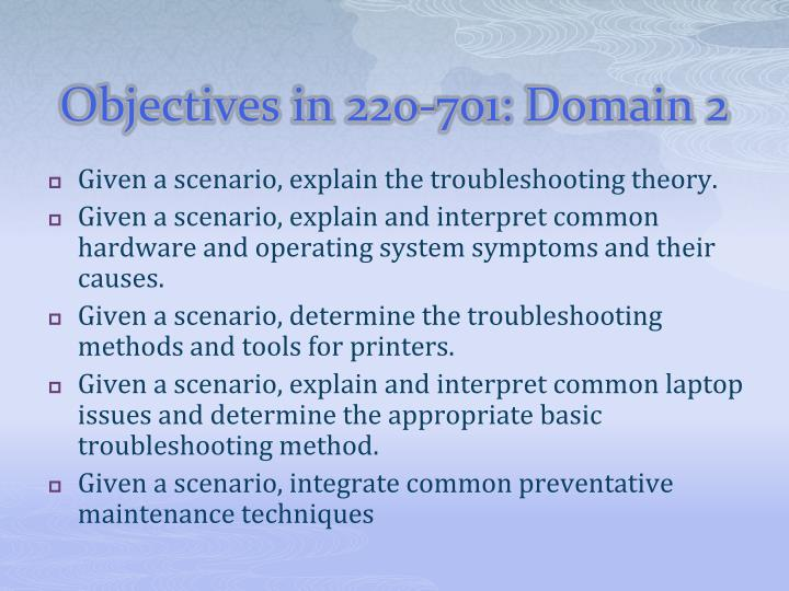 Objectives in 220-701: Domain 2
