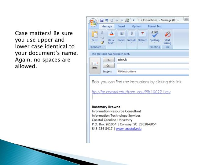 Case matters! Be sure you use upper and lower case identical to your document's name. Again, no spaces are allowed.