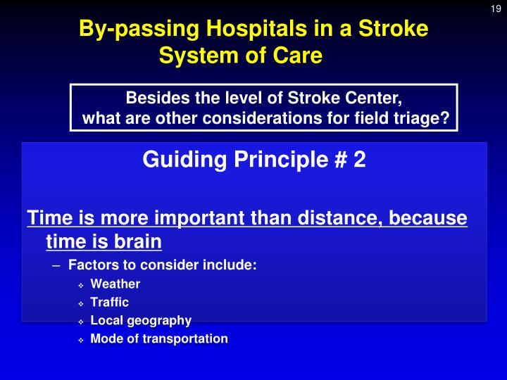 By-passing Hospitals in a Stroke System of Care
