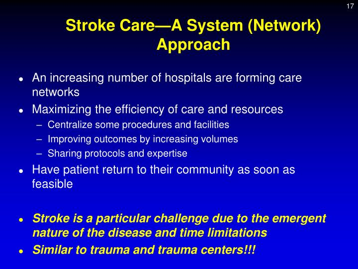 Stroke Care—A System (Network) Approach