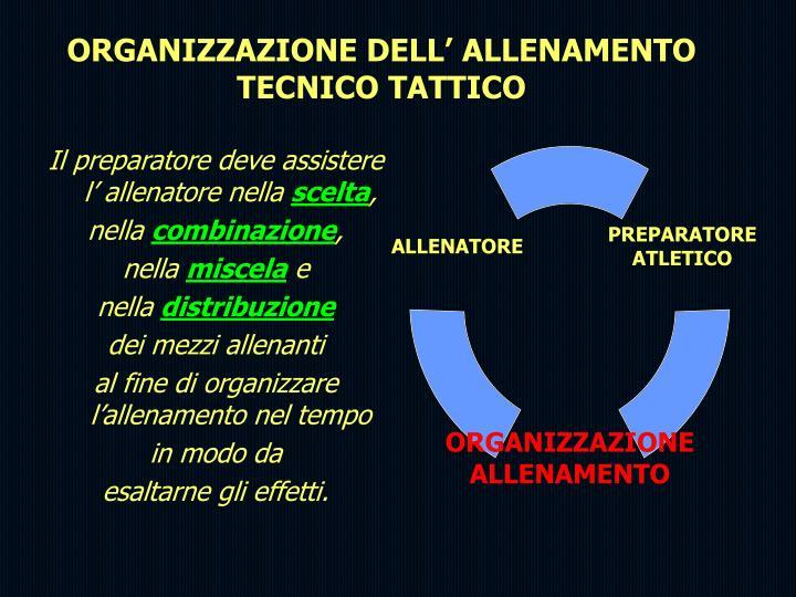 ORGANIZZAZIONE DELL' ALLENAMENTO TECNICO TATTICO