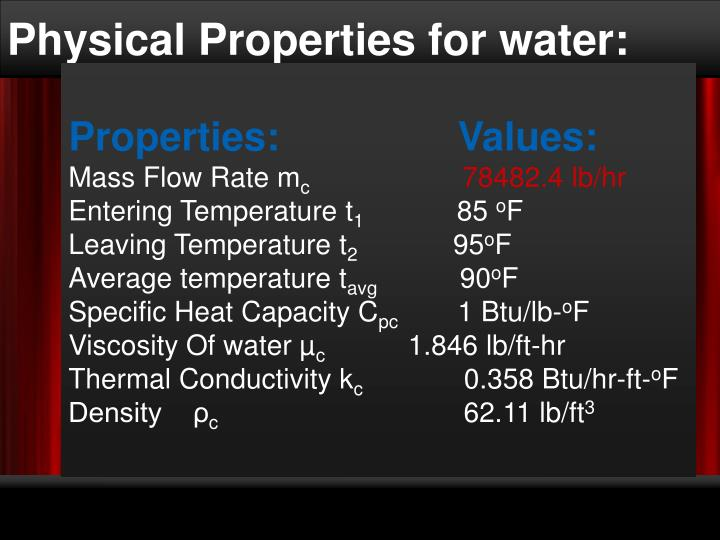 Physical Properties for water: