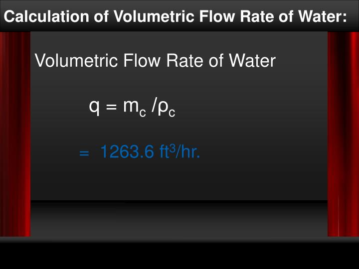Calculation of Volumetric Flow Rate of Water: