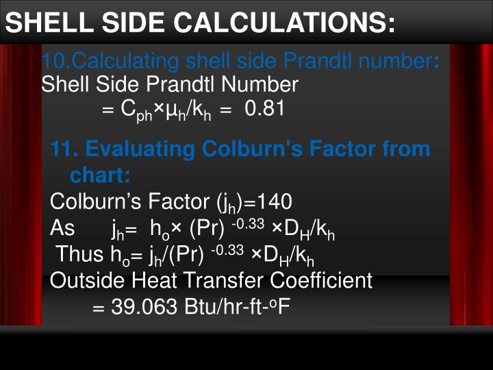 SHELL SIDE CALCULATIONS: