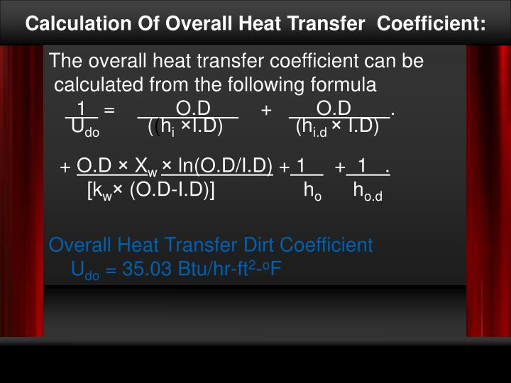 Calculation Of Overall Heat Transfer