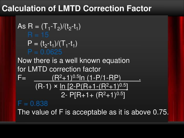 Calculation of LMTD Correction Factor