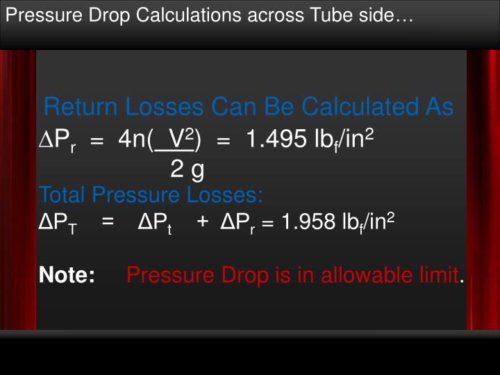 Pressure Drop Calculations across Tube side…