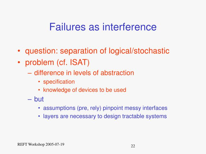 Failures as interference