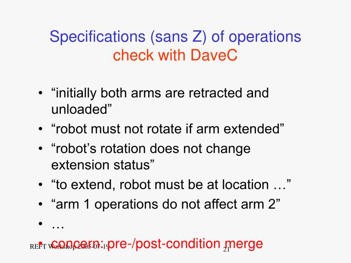 Specifications (sans Z) of operations