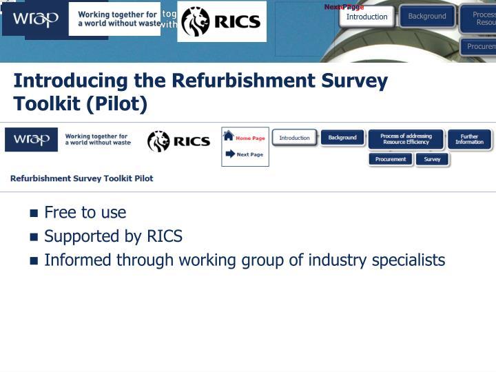 Introducing the Refurbishment Survey Toolkit (Pilot)
