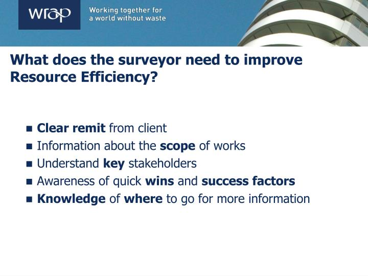 What does the surveyor need to improve Resource Efficiency?