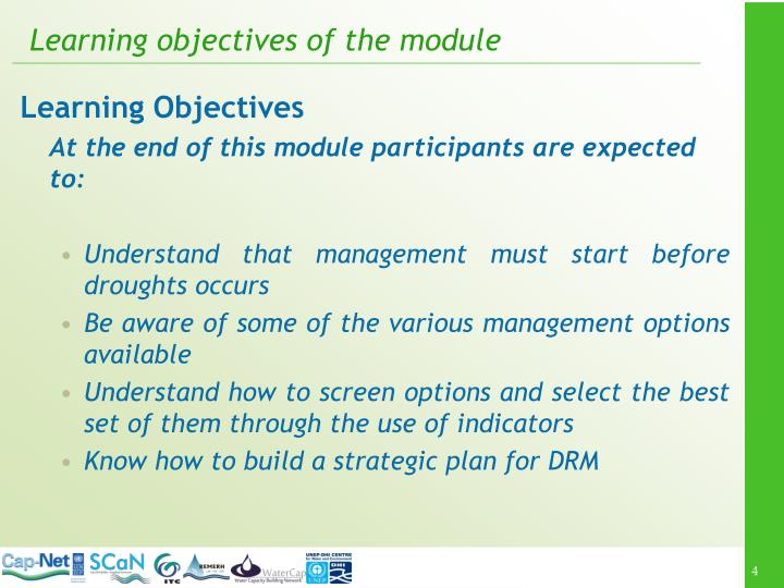 Learning objectives of the module