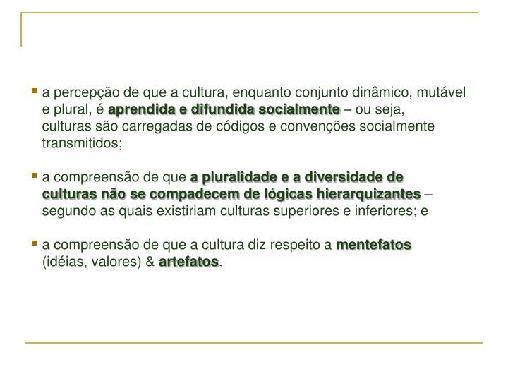a percepção de que a cultura, enquanto conjunto dinâmico, mutável