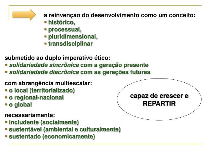 a reinvenção do desenvolvimento como um conceito:
