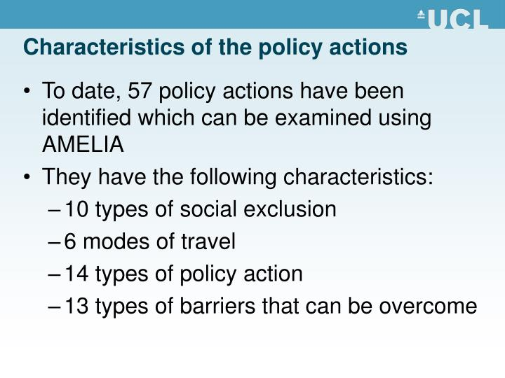 Characteristics of the policy actions