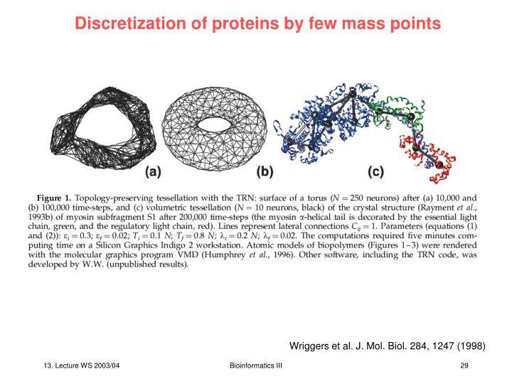 Discretization of proteins by few mass points