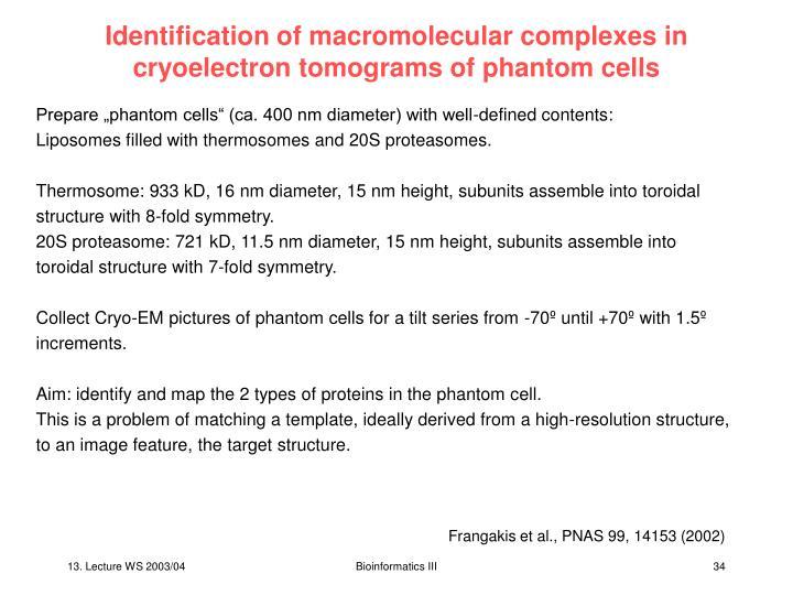 Identification of macromolecular complexes in