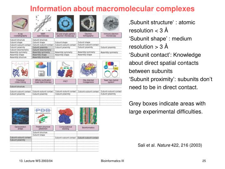 Information about macromolecular complexes