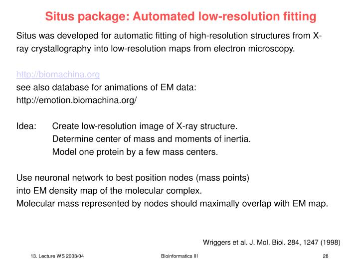 Situs package: Automated low-resolution fitting