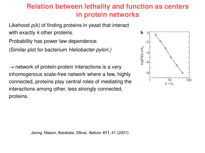 Relation between lethality and function as centers in protein networks