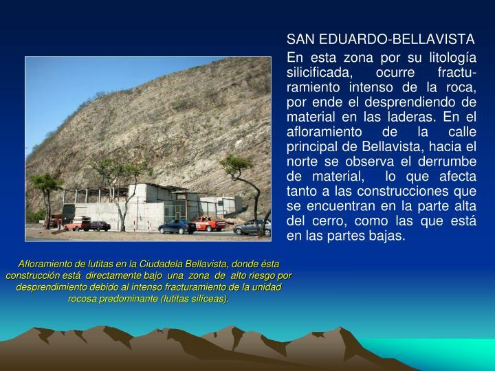 Afloramiento de lutitas en la Ciudadela Bellavista, donde ésta construcción está  directamente bajo  una  zona  de  alto riesgo por desprendimiento debido al intenso fracturamiento de la unidad rocosa predominante (lutitas silíceas).