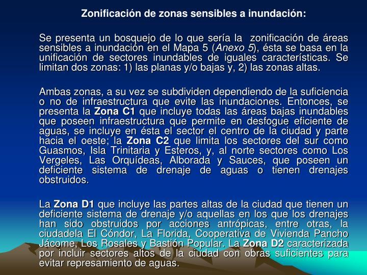 Zonificación de zonas sensibles a inundación:
