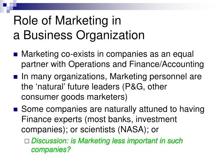 Role of marketing in a business organization