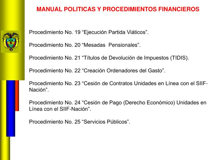 MANUAL POLITICAS Y PROCEDIMIENTOS FINANCIEROS