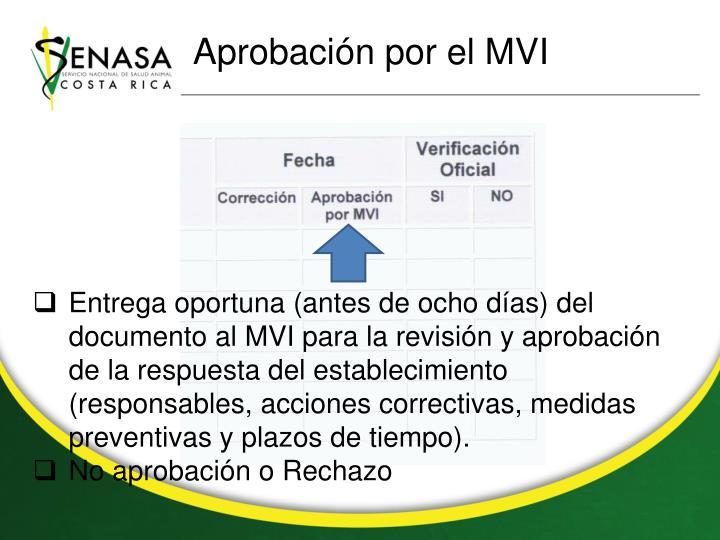 Aprobación por el MVI