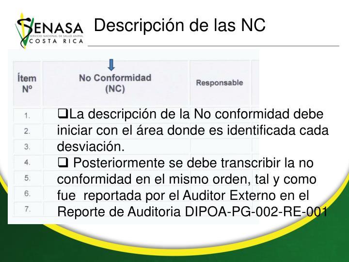 Descripción de las NC