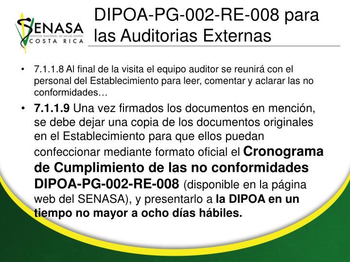 DIPOA-PG-002-RE-008 para las Auditorias Externas