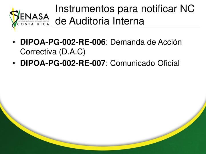 Instrumentos para notificar NC de Auditoria Interna