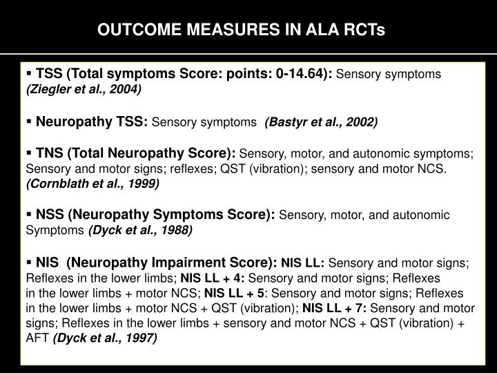 OUTCOME MEASURES IN ALA RCTs