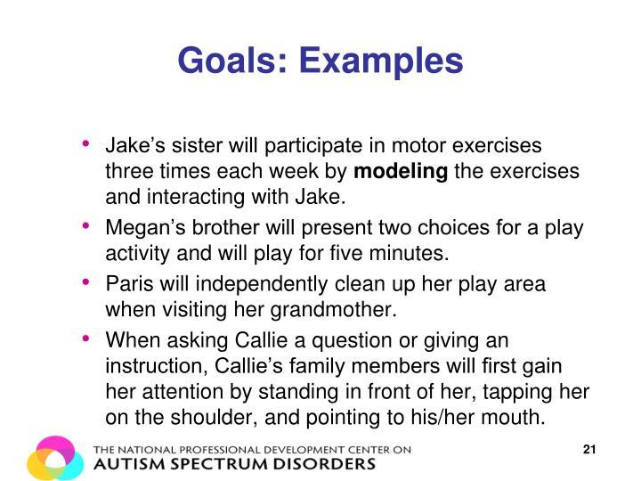 Goals: Examples