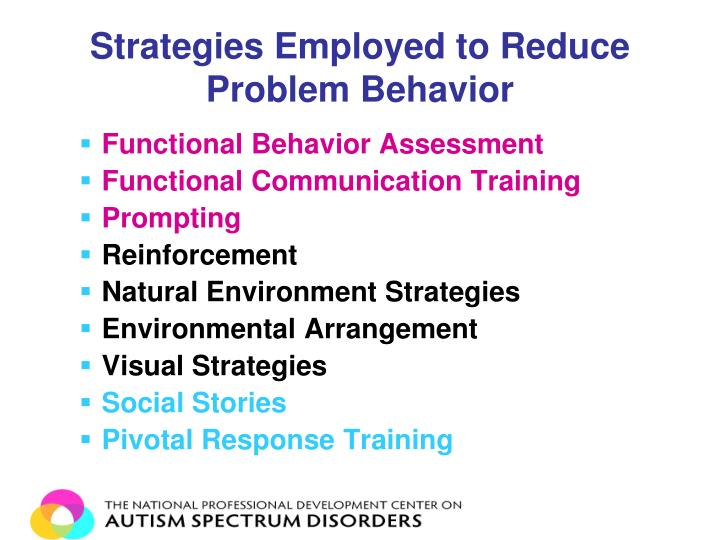 Strategies Employed to Reduce Problem Behavior