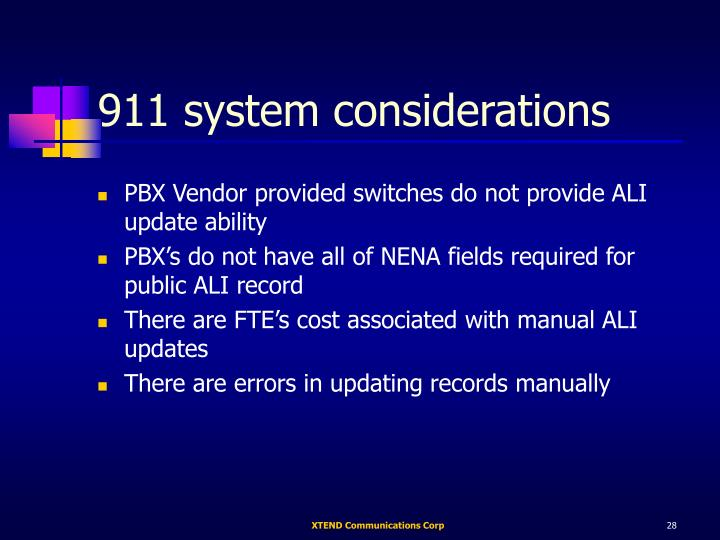 911 system considerations