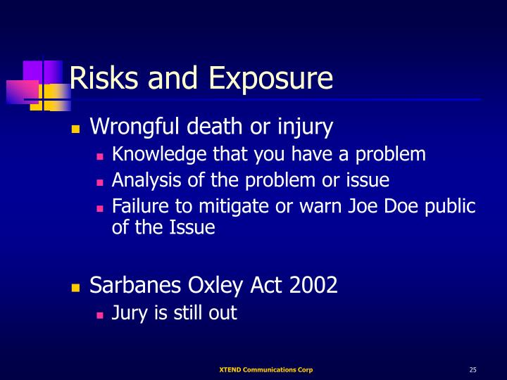 Risks and Exposure