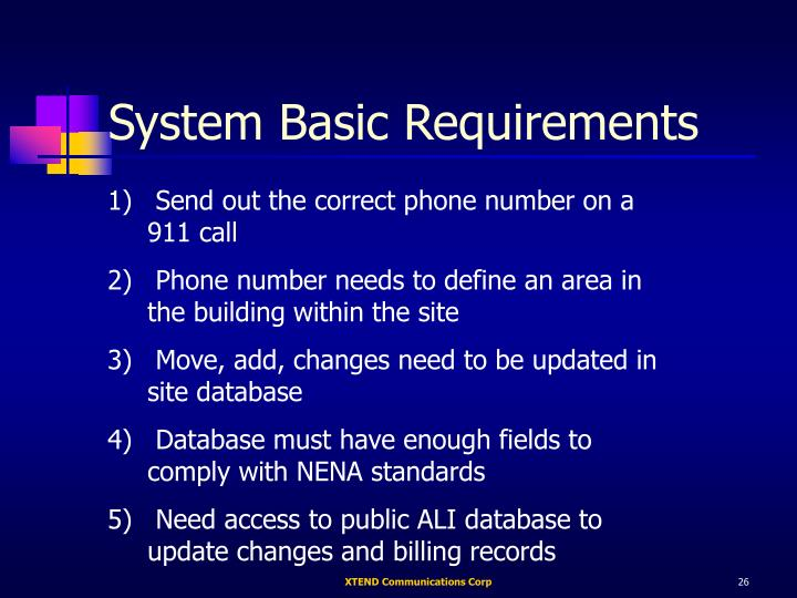 System Basic Requirements