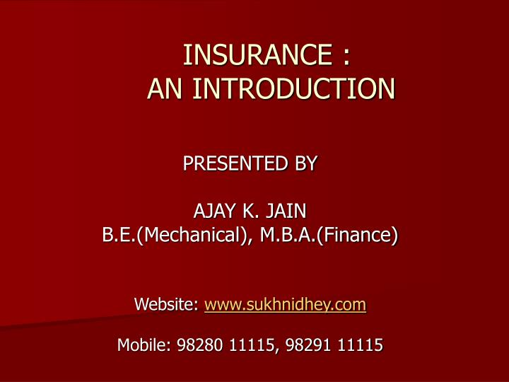 insurance an introduction